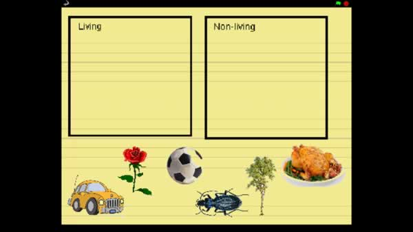 Work sheet for sorting items illustrated into living and non-living categories